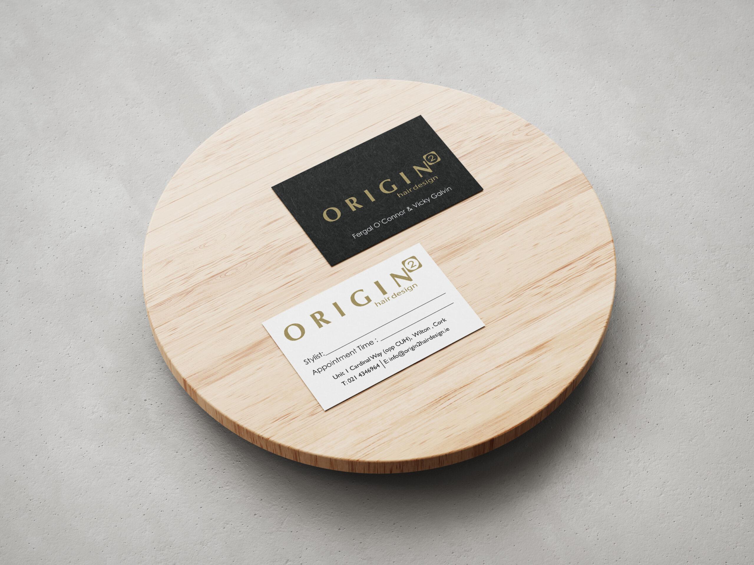 Origin Business Cards on Plate
