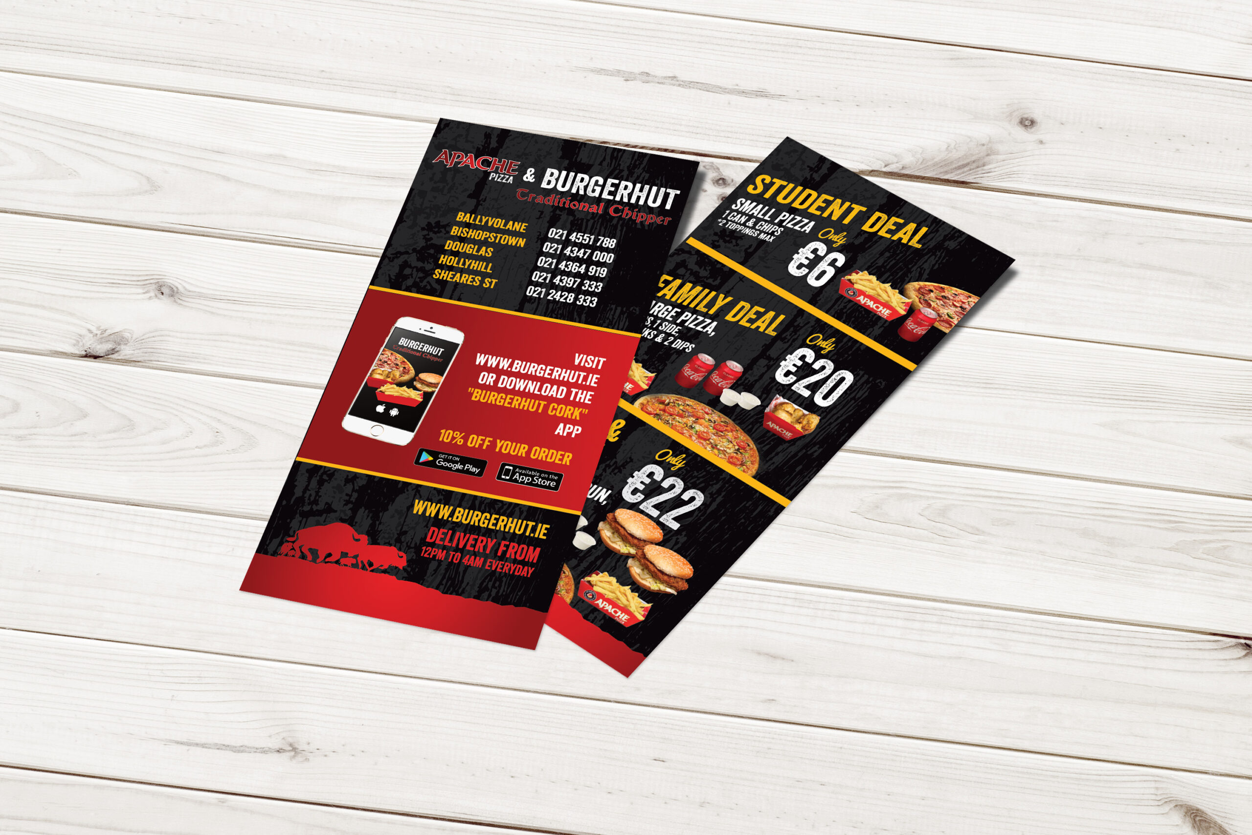 Apache Pizza DL Flyer Leaflet on table