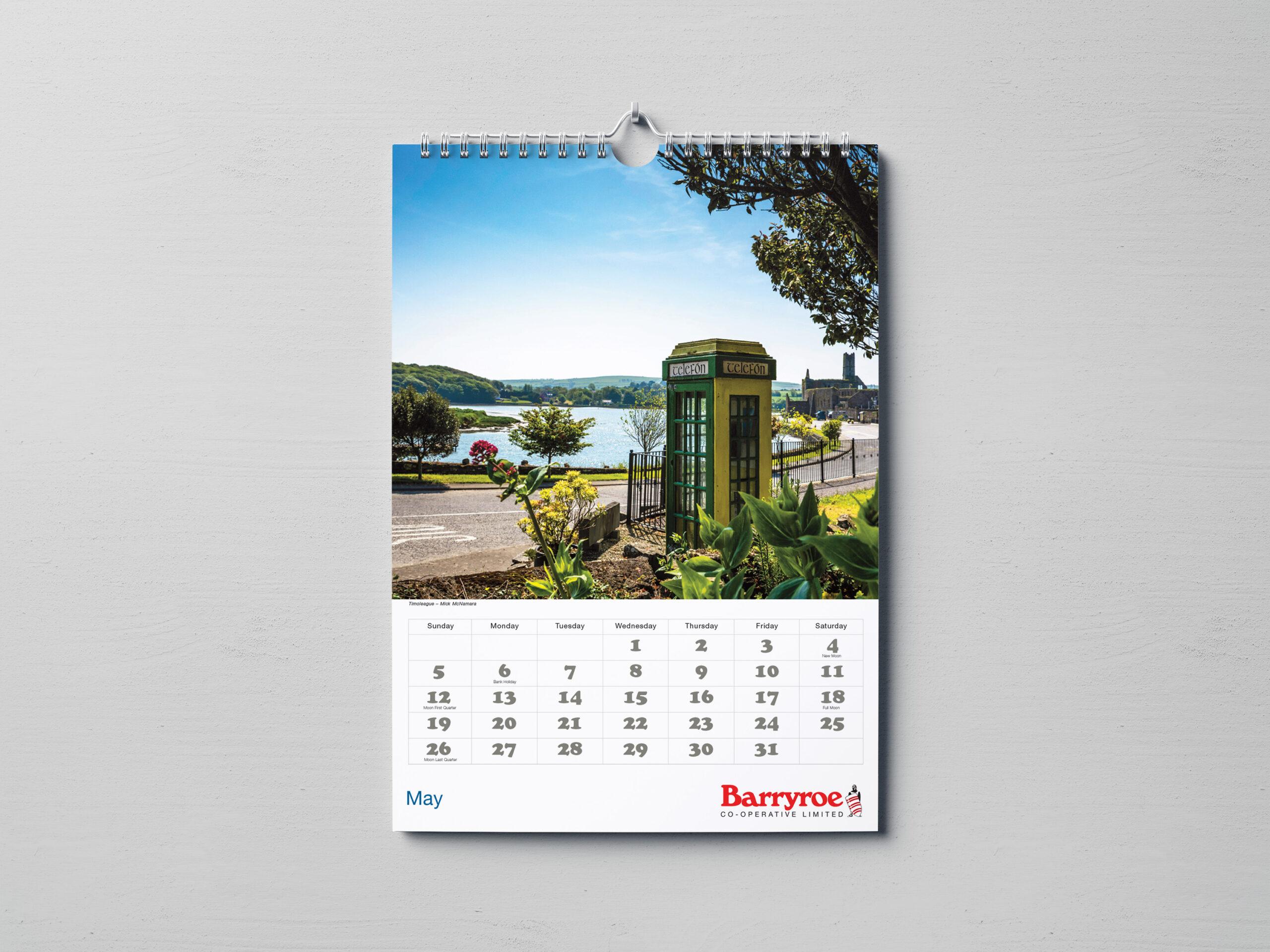 Inside of Barryroe Co-Op Wiro-bound Calendar on Wall