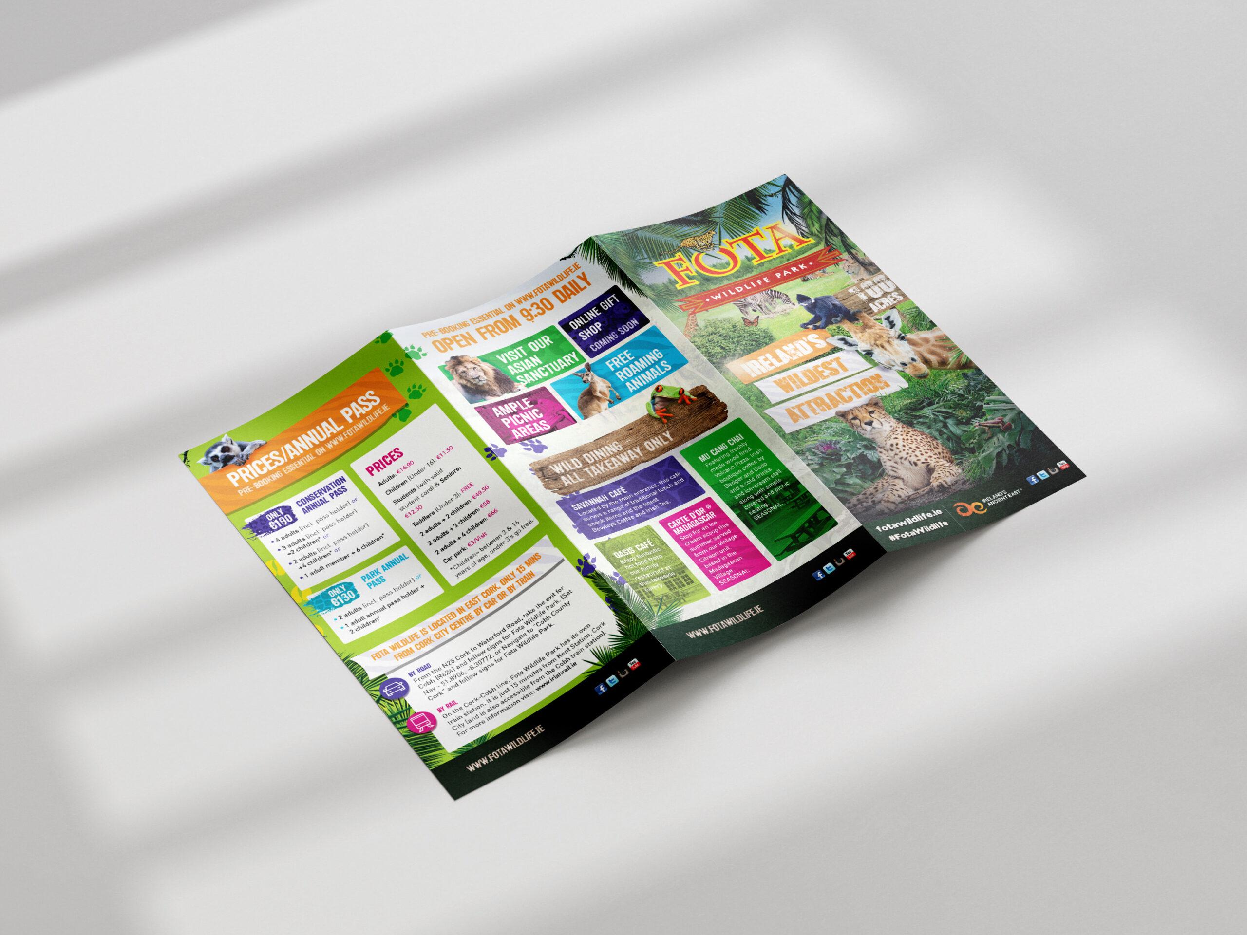Fota Wildlife Park A4 folding to DL Leaflet or Flyer