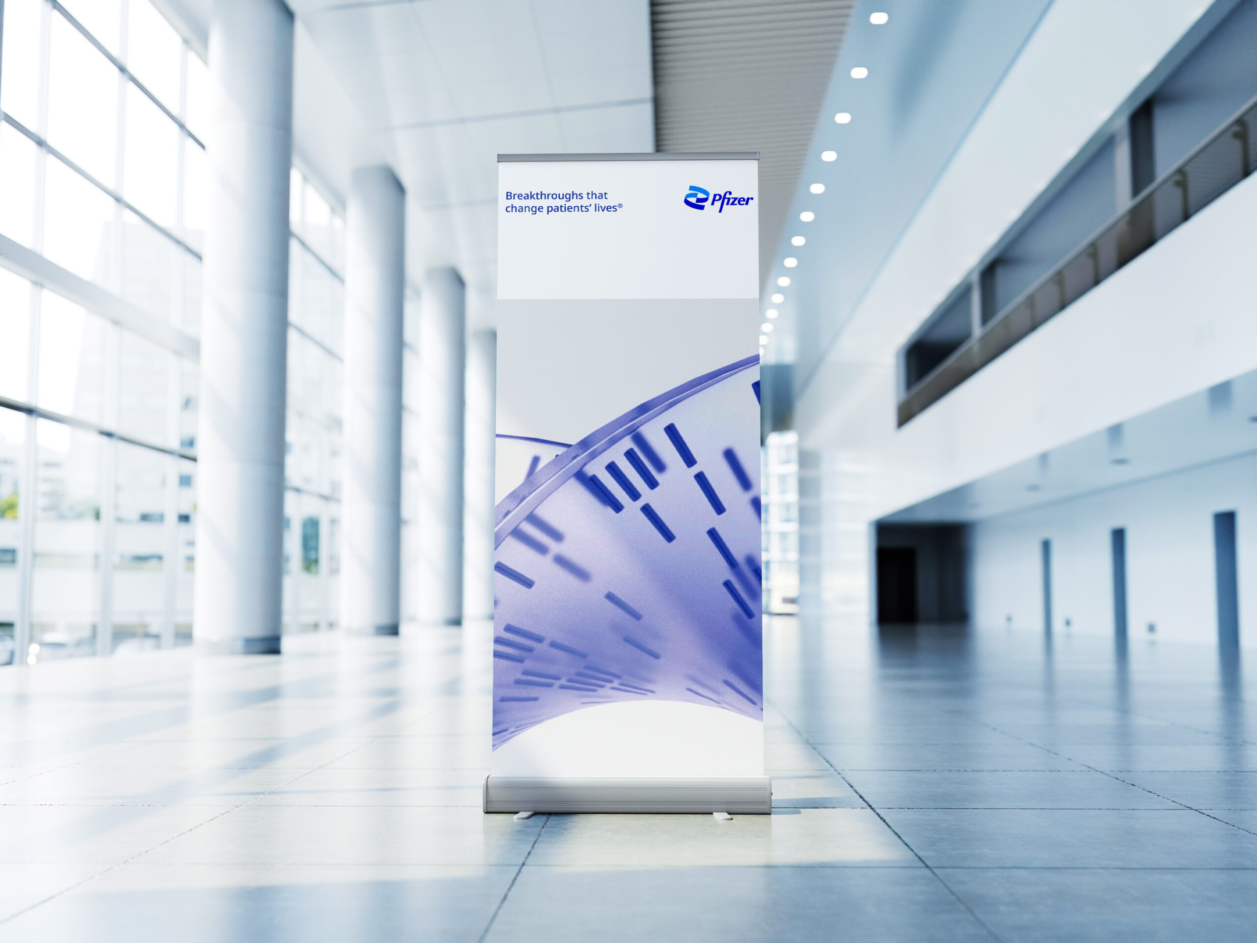 Pfizer Pull-Up Stand in Building