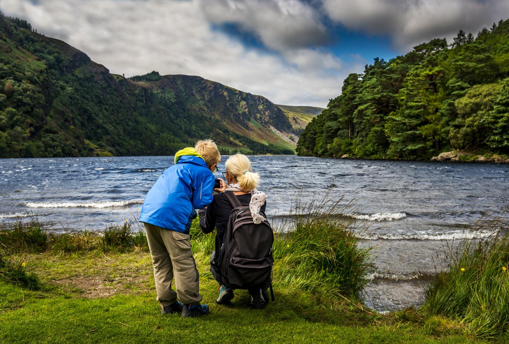 mother and son at Glendalough Upper Lake